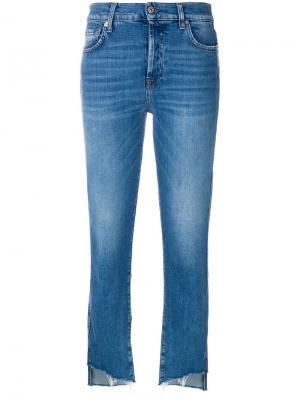 Cropped denim jeans 7 For All Mankind. Цвет: синий