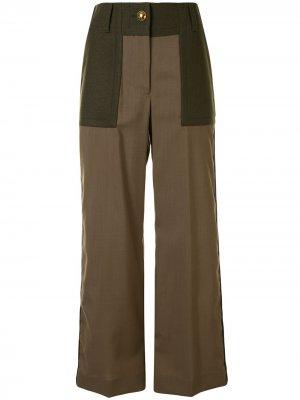 Широкие брюки с завышенной талией Sacai. Цвет: зеленый