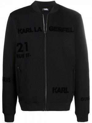 Бомбер на молнии с логотипом Karl Lagerfeld. Цвет: черный