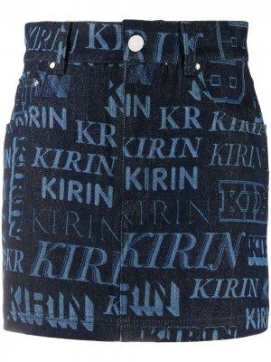 Джинсовая юбка с логотипом Kirin. Цвет: синий