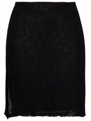Мини-юбка в рубчик Laneus. Цвет: черный