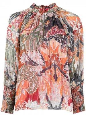Блузка со сборками и принтом пейсли Chufy. Цвет: зеленый