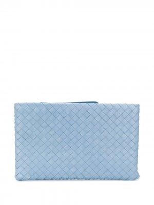 Клатч на молнии с плетением Intrecciato Bottega Veneta. Цвет: синий
