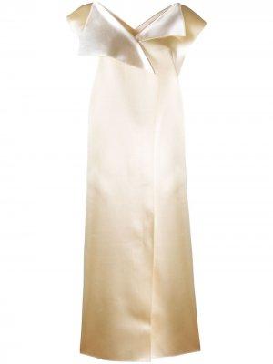 Платье миди со вставками The Row. Цвет: нейтральные цвета