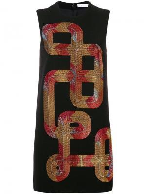 Короткое платье с заклепками Versace Collection. Цвет: черный
