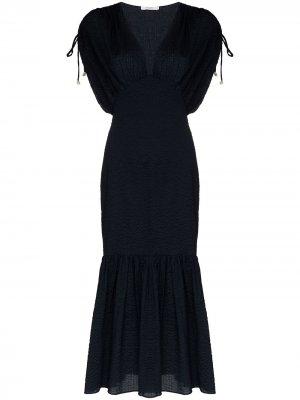 Платье миди Monterey с V-образным вырезом Marysia. Цвет: синий