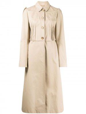 Расклешенное однобортное пальто со складками Nina Ricci. Цвет: нейтральные цвета